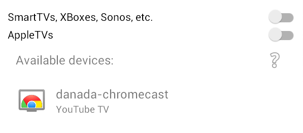 LocalCast device selection